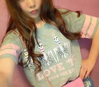 New 2014 Summer Japanese Skull Print  Slim Casual Short Sleeve O-neck Loose Short Tee Tops girl t shirt women Free Shipping 8174