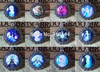 Wholesale 24pcs/lot New Unique Silver Round Cabochon Charms Elsa & Anna Frozen Necklaces Pendants For Girls