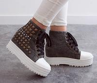 Women boots 2014 GZ cowboy boots women height increasing shoes korean casual shoes sport  women canvas shoes punk rivets boots