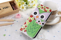New 2014 Cute Owl leather phone cases for iphone 5 5s with card slot self stand owl cover free drop shipping capa celular