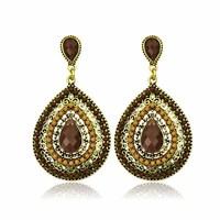 ER-05852 New Arrival Luxury Bohemian Drop Earring Resin Beaded Lady Heart  Vintage Earring for lady