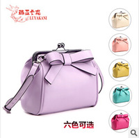 2014 women leather handbag fashion bag cute bow candy bag women messenger bag