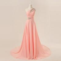 2014 Seconds Kill Chiffon Beading Vestido Longo Dmw004 Dreamaker New Designs One Shoulder Beaded Elegant Evening Dressesbridalk