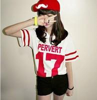 New 2014 Summer Korean Baseball Style  Print Short Sleeve O-neck Loose Casual Tee Tops girl t shirt women Free Shipping 8517