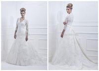 2014 New Long Sleeve White Ivory Wedding Dresses Custom size
