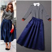 High Street Style Fashion Woman 2014 New Autumn Long Skirt Suit Set Striped Long Sleeve T Shirt Top+Mid Calf Skirt Set 2Pcs Set