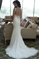 White/ivory lace sexy backless wedding dress custom size 6 8 10 12