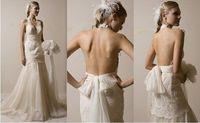 New sexy v-neck white/ivory lace backless wedding dress custom all sizeNew sexy