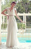Elegant New V-neck White/Ivory Chiffon Wedding Dress Custom Size