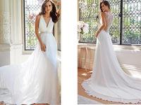 2014 new white/ivory deep v-neck chiffon wedding dress custom size