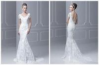 Fashion sexy v-neck backless mermaid lace wedding dress custom size