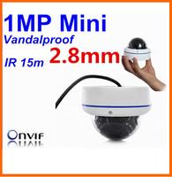 HD 1MP Mini Vandalproof outdoor 1280*720 Network 2.8mm Lens H.264 IR ONVIF POE Optional outdoor IP Dome Camera/Support Dahua