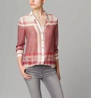 Autumn New Women Fashion Plaid Long Sleeve Cotton Shirt,Ladies Casual Brief Loose Blouse  c487
