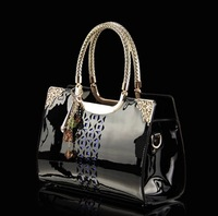 New 2014 genuine patent leather women handbags fashion women messenger bags brand totes designs clutch bag women shoulder bags