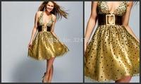 2014New Design High Quality Sexy A-Line V-Neck Spaghetti Strap Polka Dot  Knee Length Golden prom Dress
