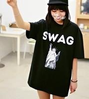 New 2014 Summer Korean Short Sleeve O-neck Hot Sales Letter  Print  Loose Casual Tee Tops girl t shirt women Free Shipping 235