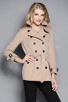 New Women Fashion British Middle Long Double Breasted Genuine Leather buckle Trench Coat Elegant Outerwear