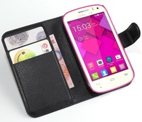 Luxury Litchi Grain Purse  Leather Wallet Case For Alcatel One Touch Pop C3 OT4033 4033X 4033E With Card Slots Flip Stand