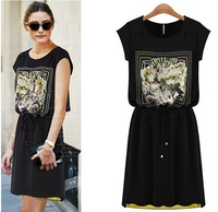 Free Shipping 2014 summer women's fashion new slim waist printed casual dress