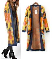 2014 New Autumn Winter Women Vintage Ethnic Geometric Pattern Long Sleeve Knit Long Cardigans Sweater Knitwear Open Stitch Coat
