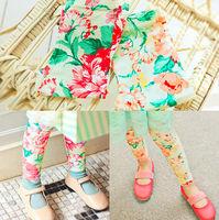 New Fall Fashion 5pc/lot Peony Print Cotton Girls Leggings Children Floral Print Leggings / Skinny Pants Orange Red