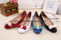 High-End Customized 2014 Famous Brand Design Fashion BowKnot Luxury Genuine Patent Leather Low Heel Pumps For Women Size 35-40