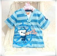 NEW DESIGN hot sale Free Shipping  Octonauts boy boys blue short sleeve sleeved T shirt top tees t shirts
