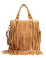 Free Shipping Faux Suede Women Girls Punk Style Celebrity Tassel Fringe Handbag Fashion Vintage Shoulder Bag Messenger Tote bags