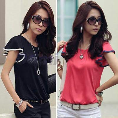 New Fashion Women Clothing Butterfly Short ruffles Sleeve Casual Shirt Cotton Loose Tops T-Shirt(China (Mainland))