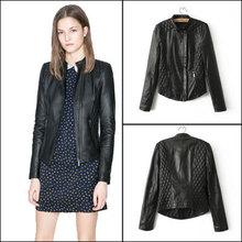 2015 New Spring Women Faux Leather Clothing Black Leather Jackets Fashion Slim Long Sleeve Zipper Feminino Jaqueta Couro(China (Mainland))