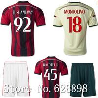 EL SHAARAWY  High quality 14 15 AC Milan Soccer shirt+short kits,KAKA BALOTELLI 2015 Soccer jersey Football uniforms set+logo