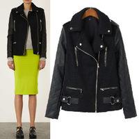 Women Winter Motorcycle Leather Jacket Coat S-M- L Size Short Paragraph Diagonal Zipper outerwear coats 2014 New ow625