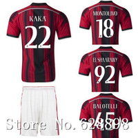 New High quality 14 15 AC Milan Home red Soccer shirt+short kits,EL SHAARAWY KAKA BALOTELLI 2015 Soccer jersey Football uniforms