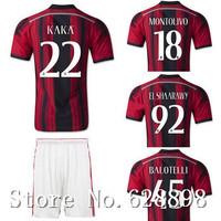New High quality 14 15 AC Milan Home red Soccer shirt+short kits,EL SHAARAWY KAKA BALOTELLI 2015 Soccer jersey Football uniforms