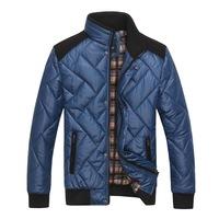 2014 Men's casual warm knit raglan coat jacket zippe male patchwor outcoat  standing collar overcoat #722003