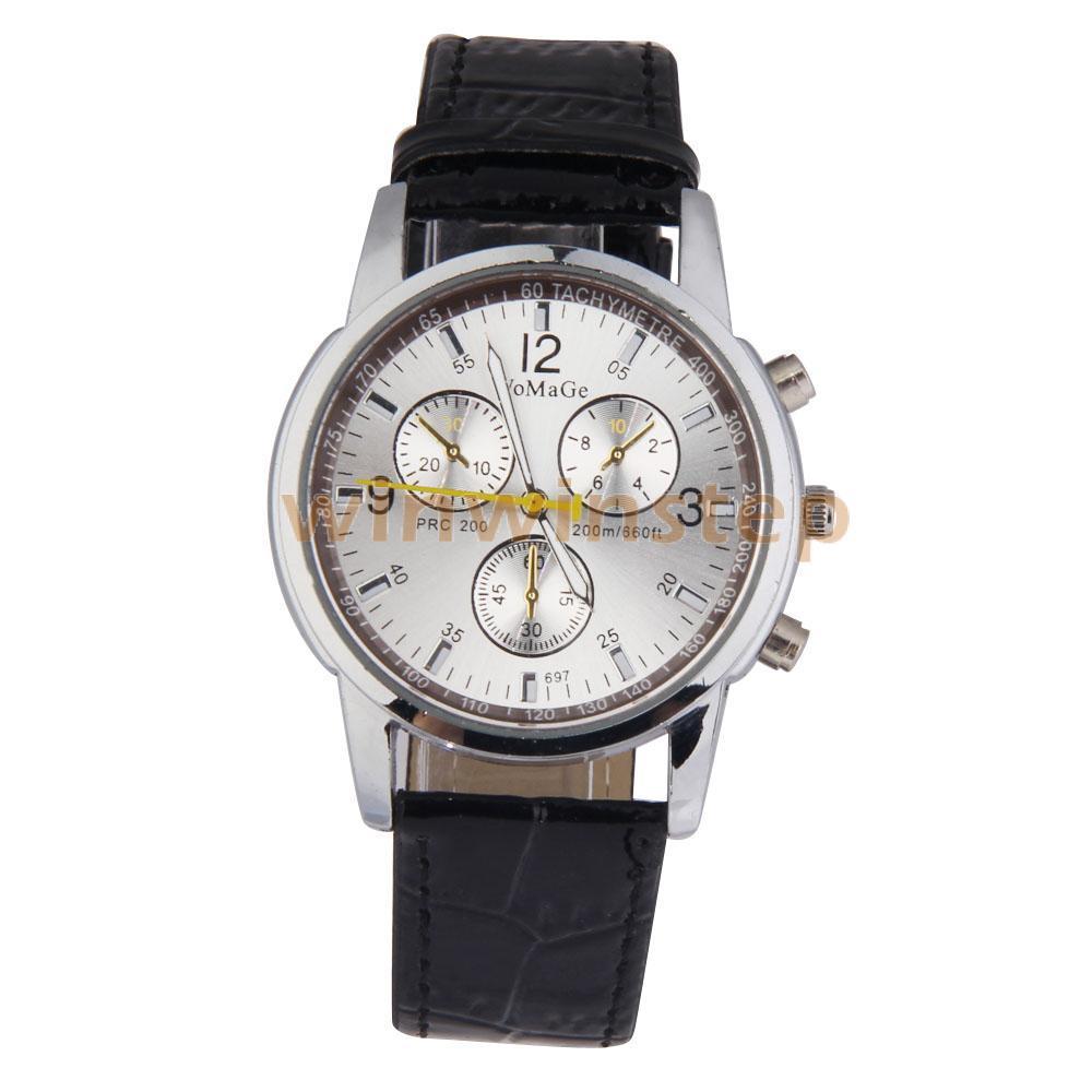BS#S Hot Unisex Black PU Band Sport Quartz Watch with 3 White Dials Decoration(China (Mainland))