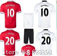 High quality 14/15 ROONEY Van PERSIE MATA Soccer shirt+short kits 2015 Rooney soccer jersey Football uniforms