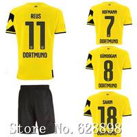 High quality BVB 14/15 Borussia Dortmund Home Soccer shirt+short kits 2015 REUS GUNDOGAN soccer jersey Football uniforms