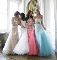 Beautiful Beading Prom Dresses 2014 New Mermaid Sweetheart Neck Sleeveless Floor Length Zipper Organza Evening Party Gown KM-262