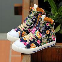 Children Canvas Shoes 2014 New Autumn  Flower Child Sneakers For Kids Girls Floral Brand Designer Children's Little Girl Shoe