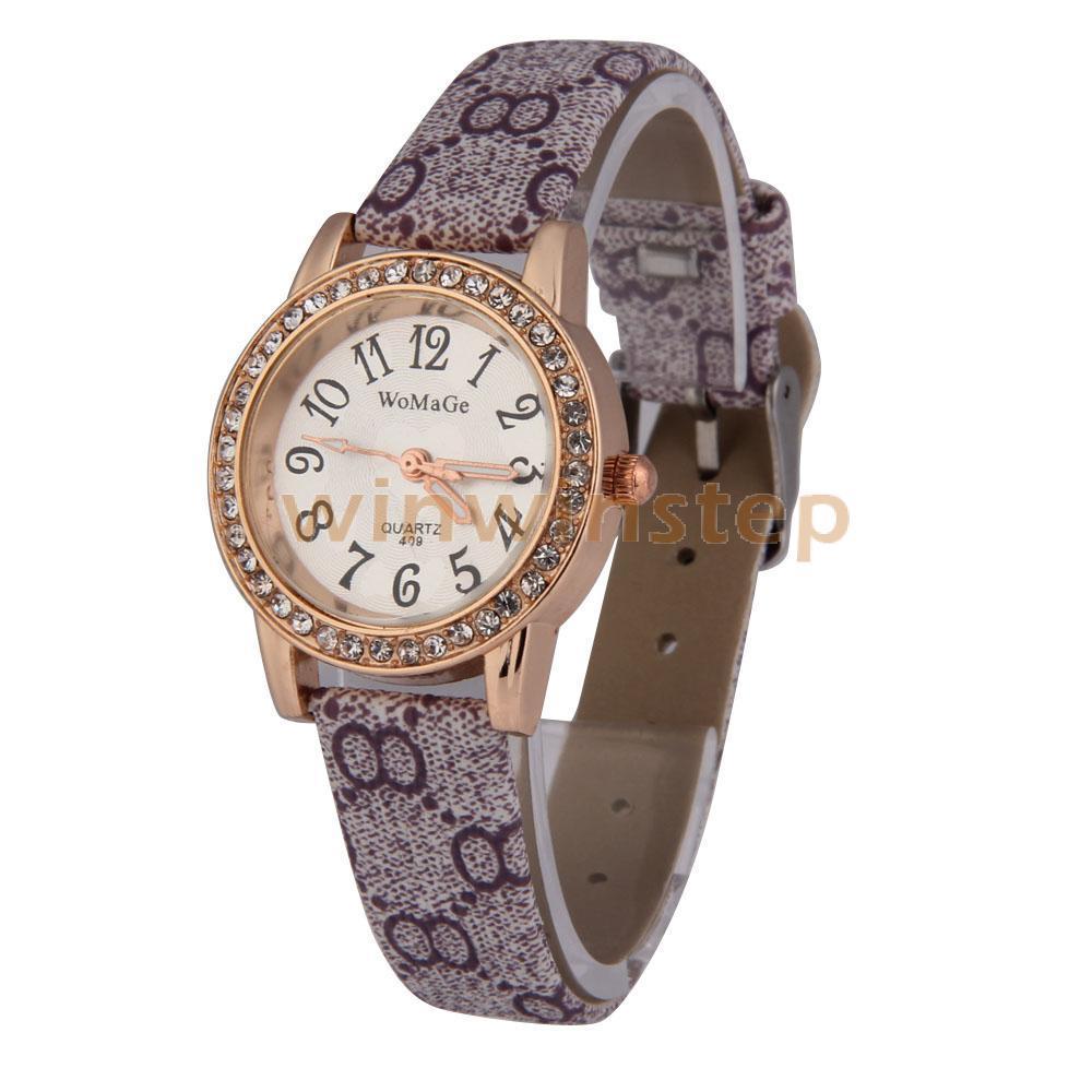 BS#S Purple Leather-Cloth Band Rhinestone Golden Round Dial Quartz Analog Watch(China (Mainland))