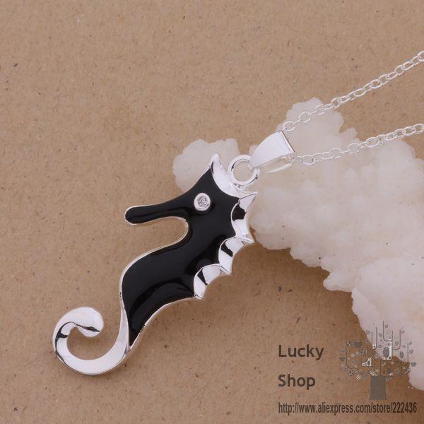 AN099 925 sterling silver Necklace 925 silver fashion jewelry pendant black animals /ajdajaka dogamfna(China (Mainland))