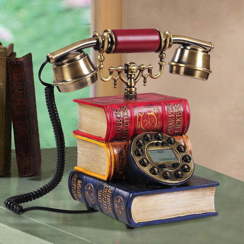Hoshine Brand Hot Sale Novelty Fashion Book Style Vintage Telephone Decorative Vintage Telepohne Id Callered Old Corded Phone(China (Mainland))