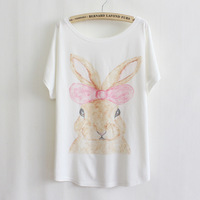 2014 Free Shipping Plus Size T-Shirt Women's Bow Bunny Cotton Loose Bat Shirt Short-sleeved T-shirt wholesale 2317