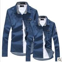 Bestselling Mens shirt Cotton  Shirt Men Casual Shirt Slim Fit Long-Sleeves Denim Clothing