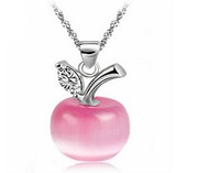 CAN067 2014 New Arrival 925 Silver Pink Opal Apple Pendant Necklaces For Women Dress Accessories Free Shipping