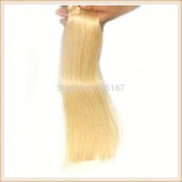 Free Shipping Blonde Brazilian Hair 100g  Brazilian Straight Hair Weft 1pcs 14-26inch 100% Blonde Hair Extensions