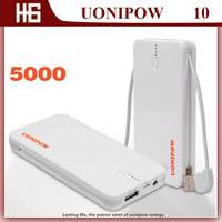 Best sale! Brand UONIPOW UP10 External USB Port Power Bank  Real Capacity 5000mAH ,Solar Energy  Power Battery with Line