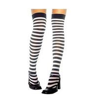 Black and White Stripe Opaque Thigh Highs Stockings Free Shipping