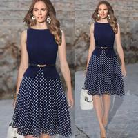 Women dot Polka Slim Dress Long New 2014 Summer Autumn Office Work Wear Vintage Party Dresses with Belt Ball Gown